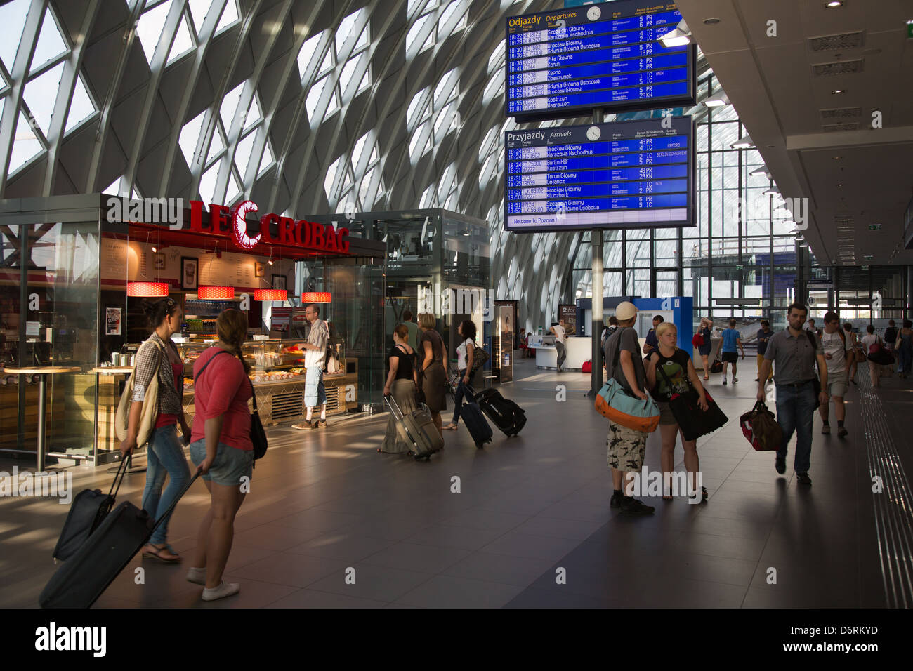 Poznan, Poland, in the newer part of the main hall of the railway station PKP Stock Photo