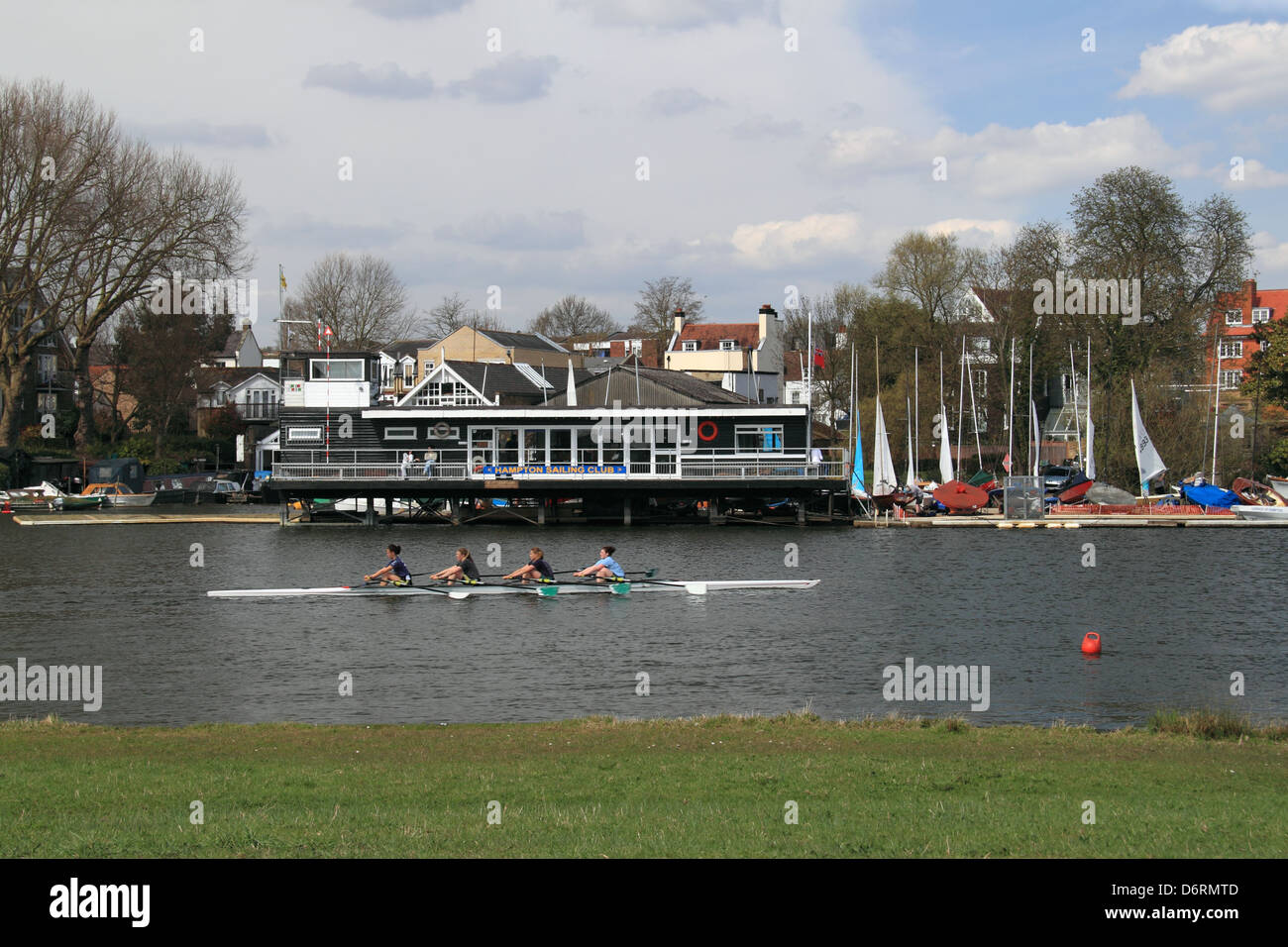 Hampton Sailing Club from across River Thames, East Molesey, Surrey, England, Great Britain, United Kingdom, UK, - Stock Image
