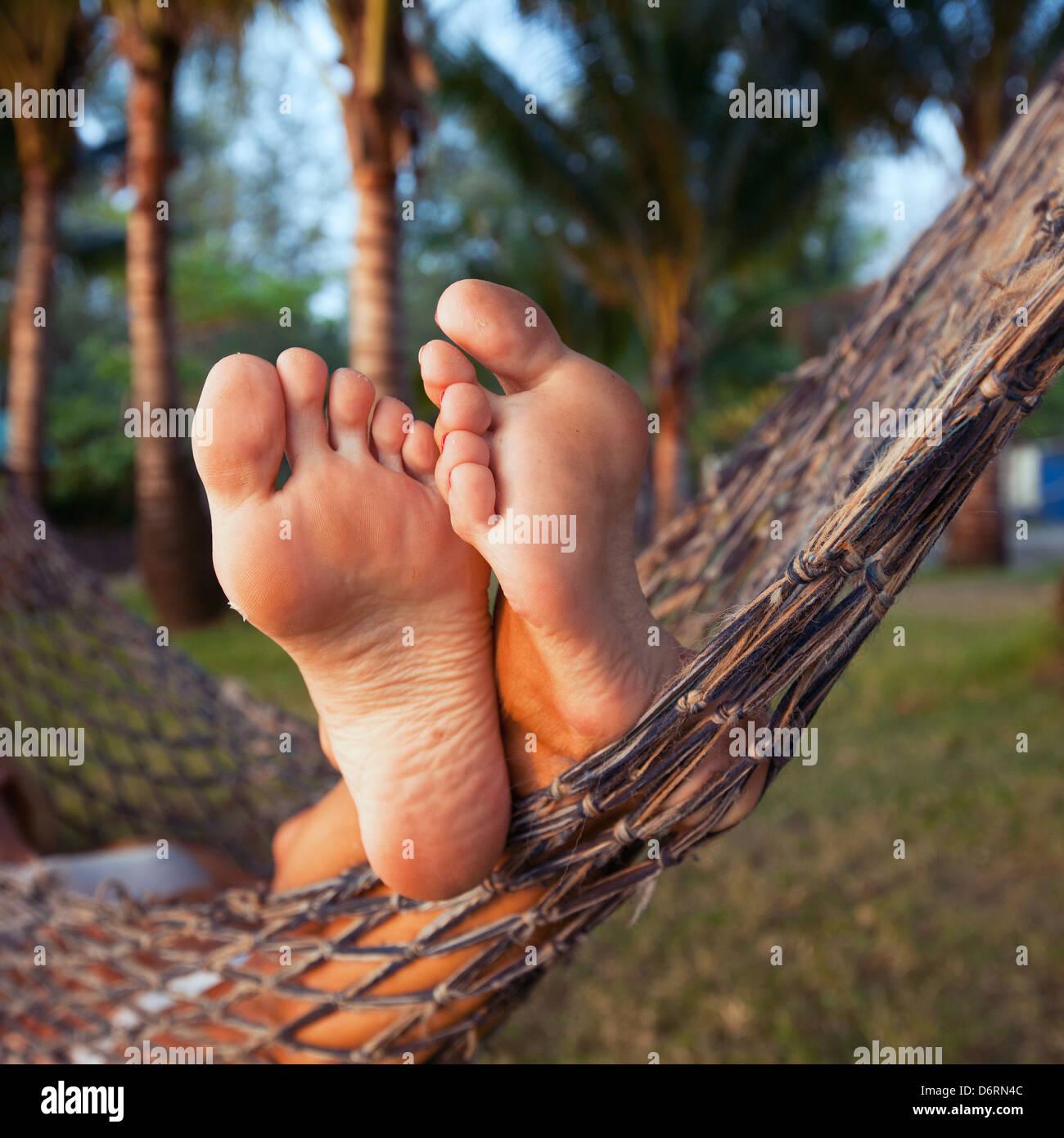 woman in hammock - Stock Image
