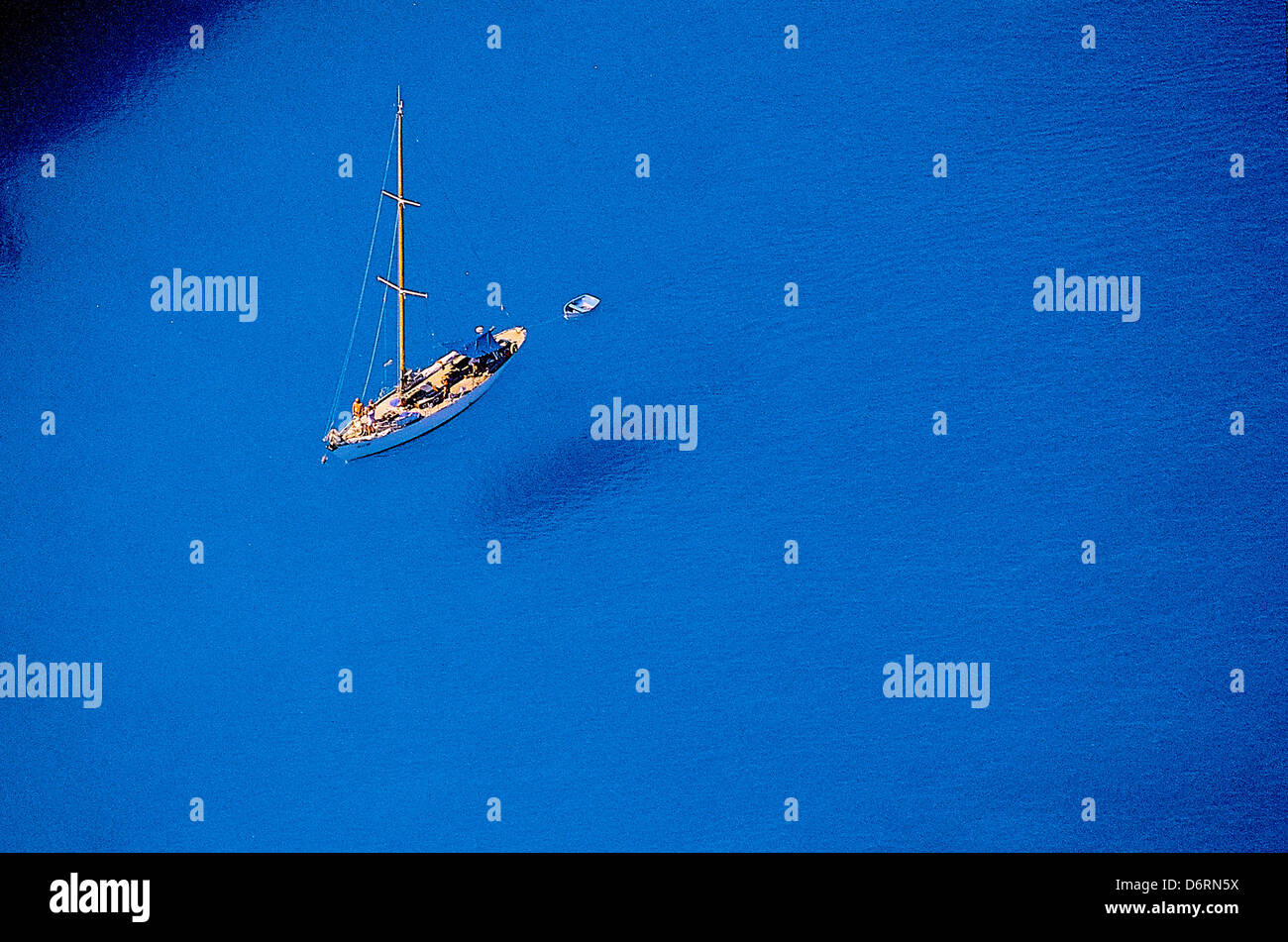 Greece, Ionian Sea, Zakynthos Island, Sailboat on blue sea - Stock Image