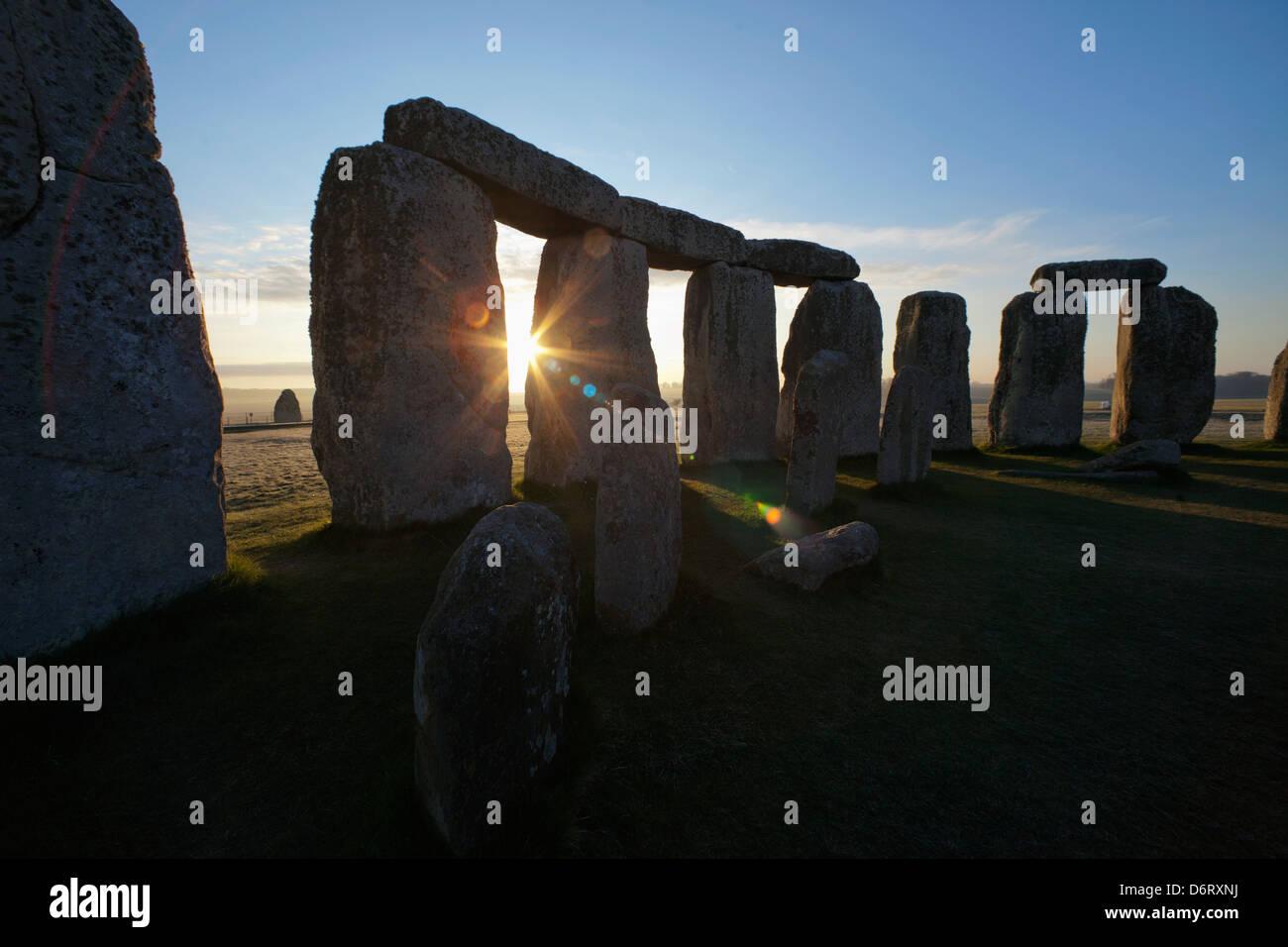 UK, England, Wiltshire, Stonehenge at sunset Stock Photo