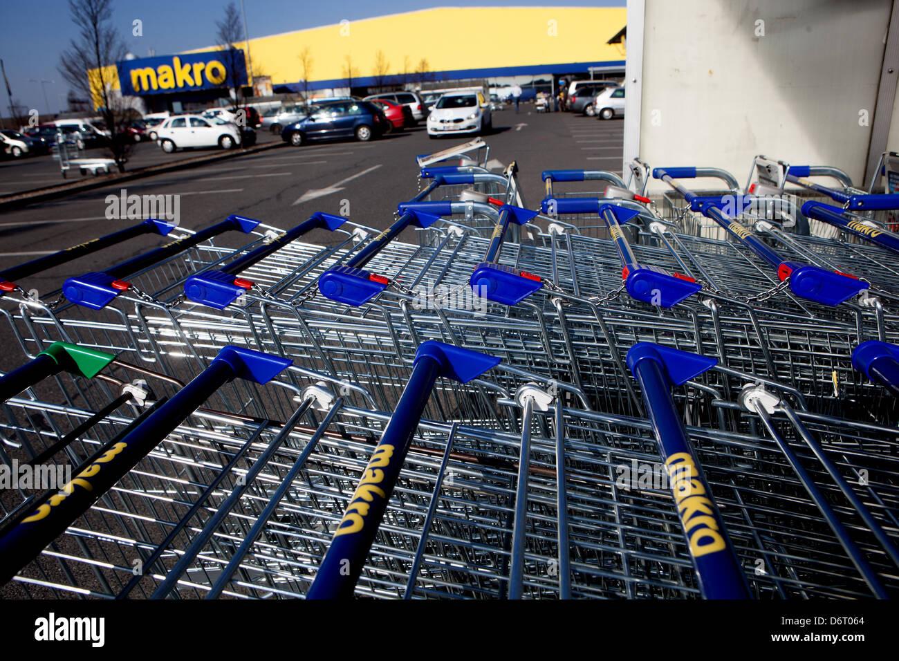 Makro store logo Prague Czech Republic supermarket - Stock Image