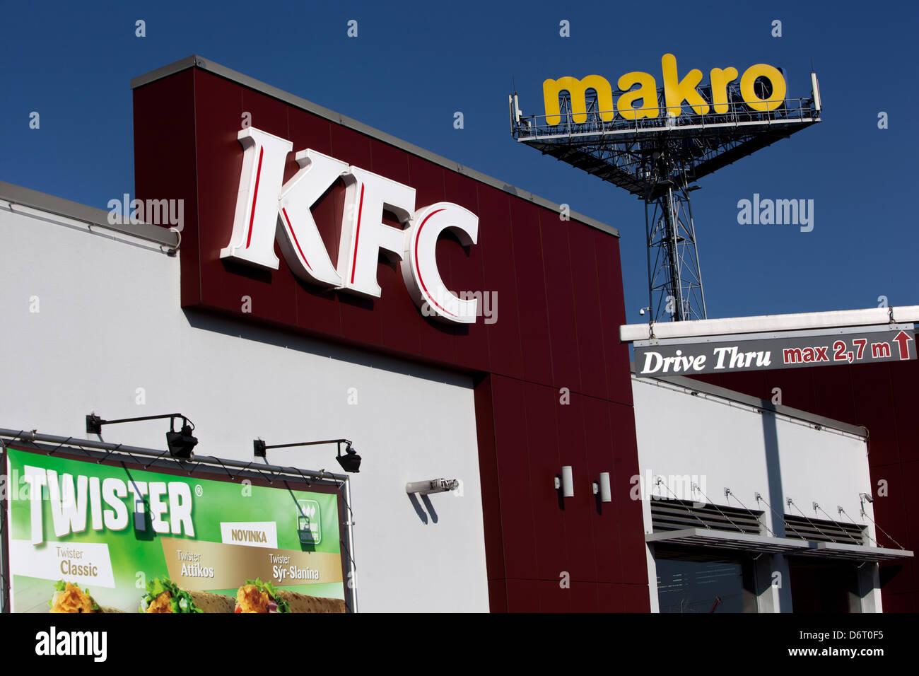 Makro KFC logo Prague Czech Republic - Stock Image