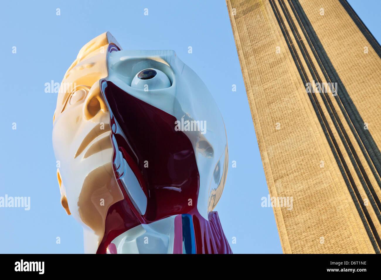 UK, London, Bankside, Tate Modern, Sculpture titled ''Hymn'' by Damien Hurst - Stock Image