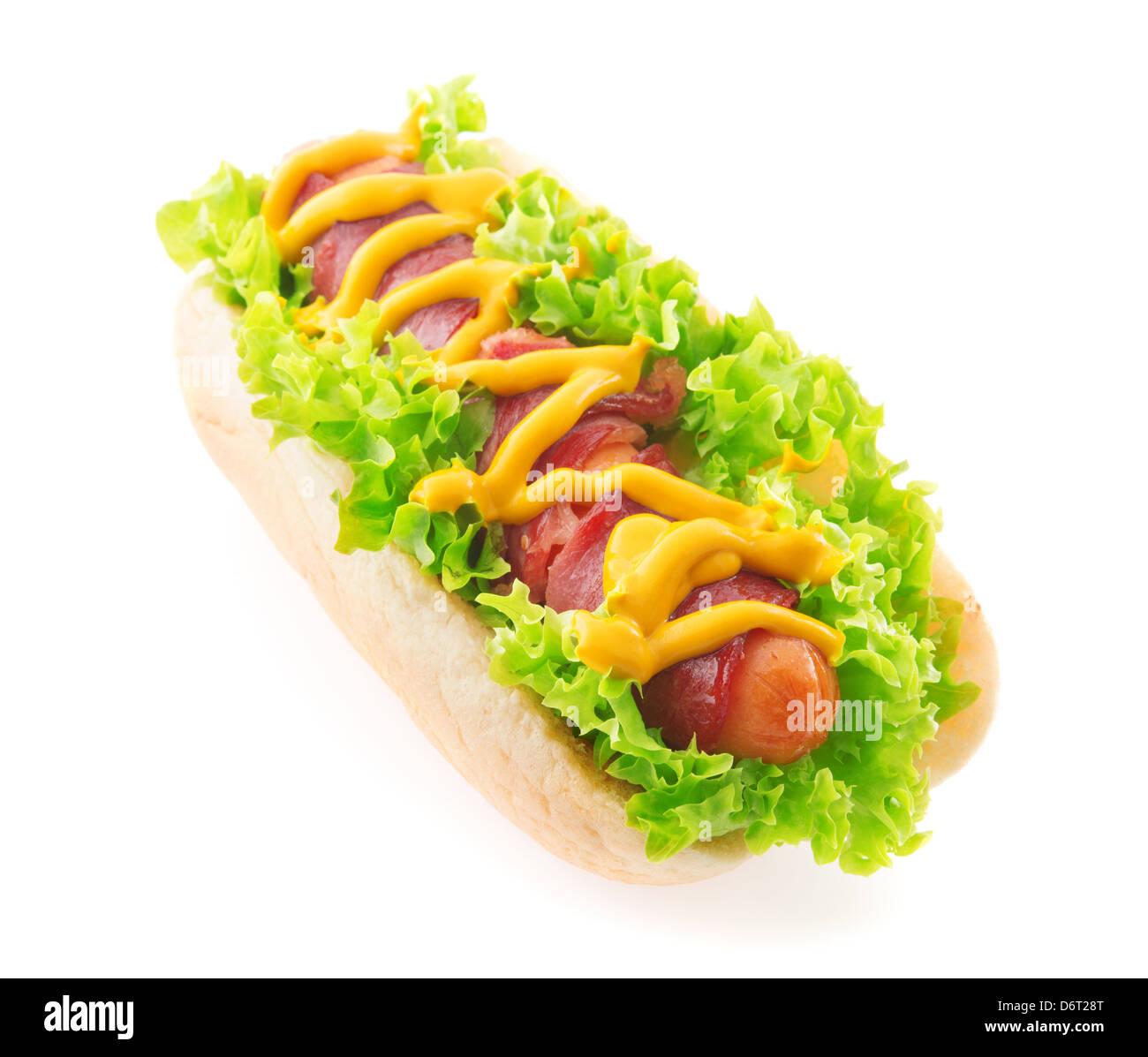 Bacon sausage hot dog isolated white - Stock Image