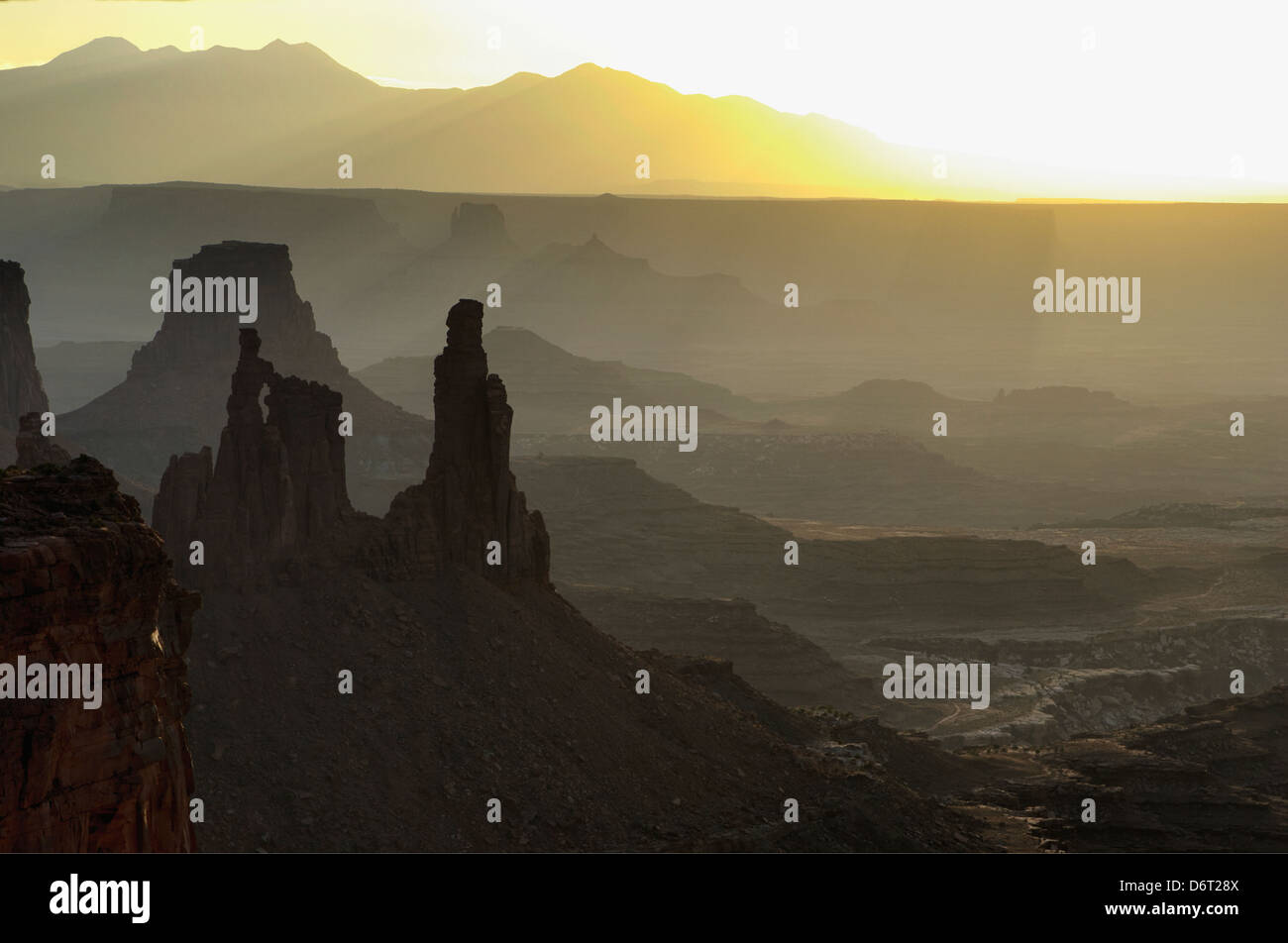 Backlight effect, in Canyonland during a sunrise - Stock Image