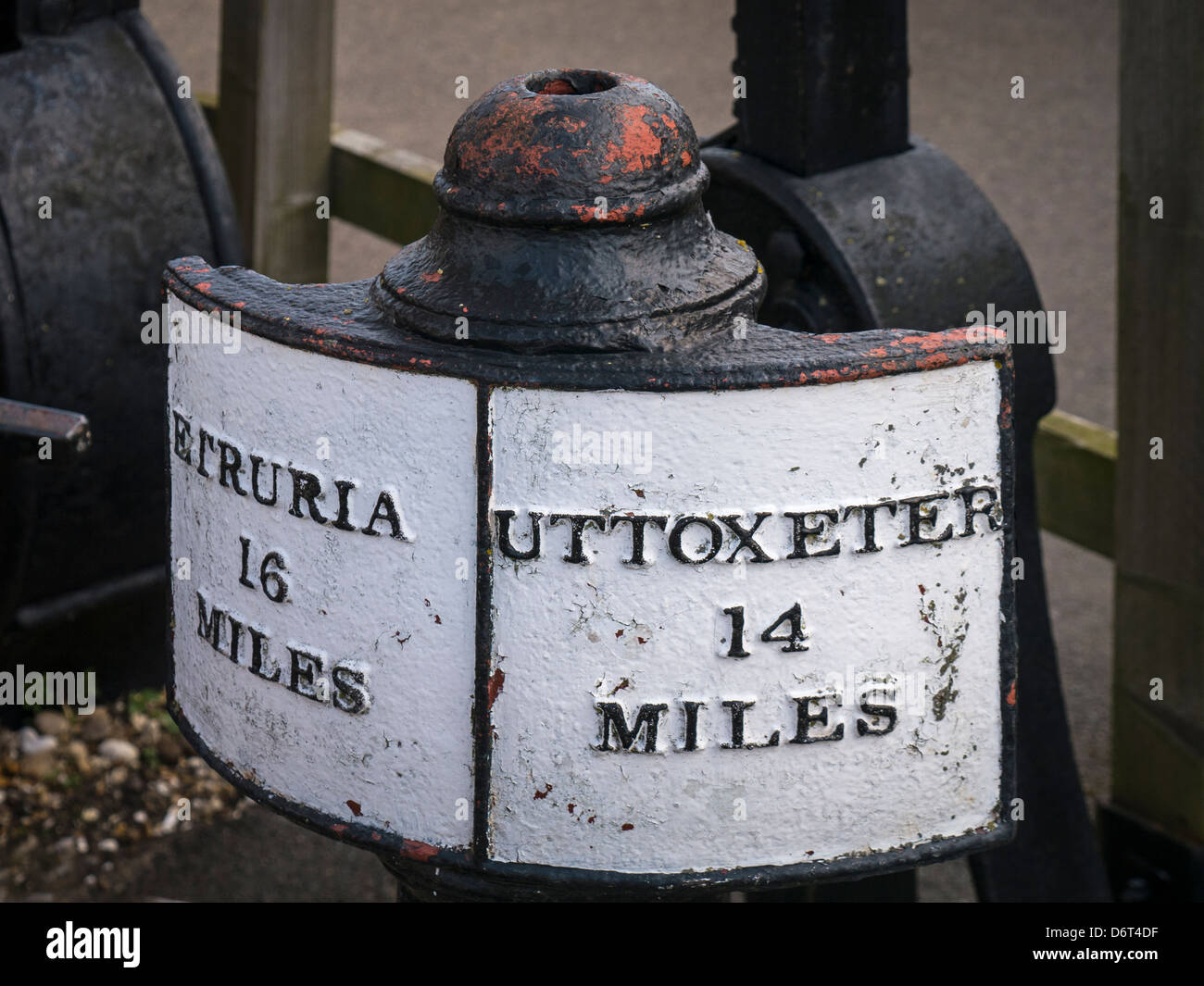 Milage Sign at Stoke Bruerne on the Grand Union Canal, Northamptonshire - Stock Image