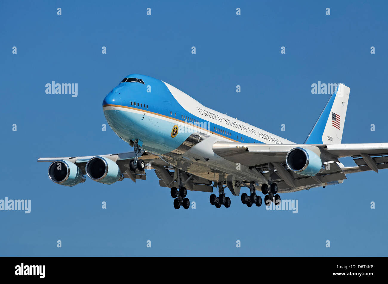 USA California Los Angeles Westchester LAX President Obama arrives in Southern California on Air Force One Boeing - Stock Image