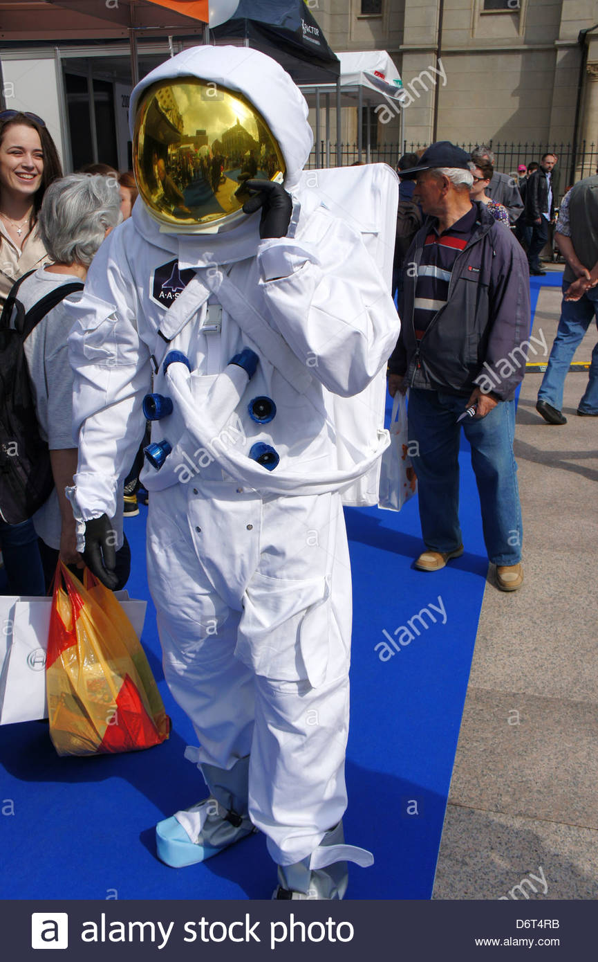 Zagreb,Croatia. A person dressed in a spacesuit - Stock Image
