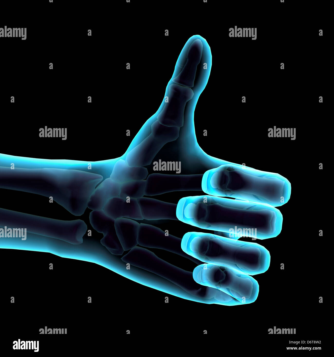 3D Computer Illustration of a blue hand giving the thumbs up sign. Black background - Stock Image
