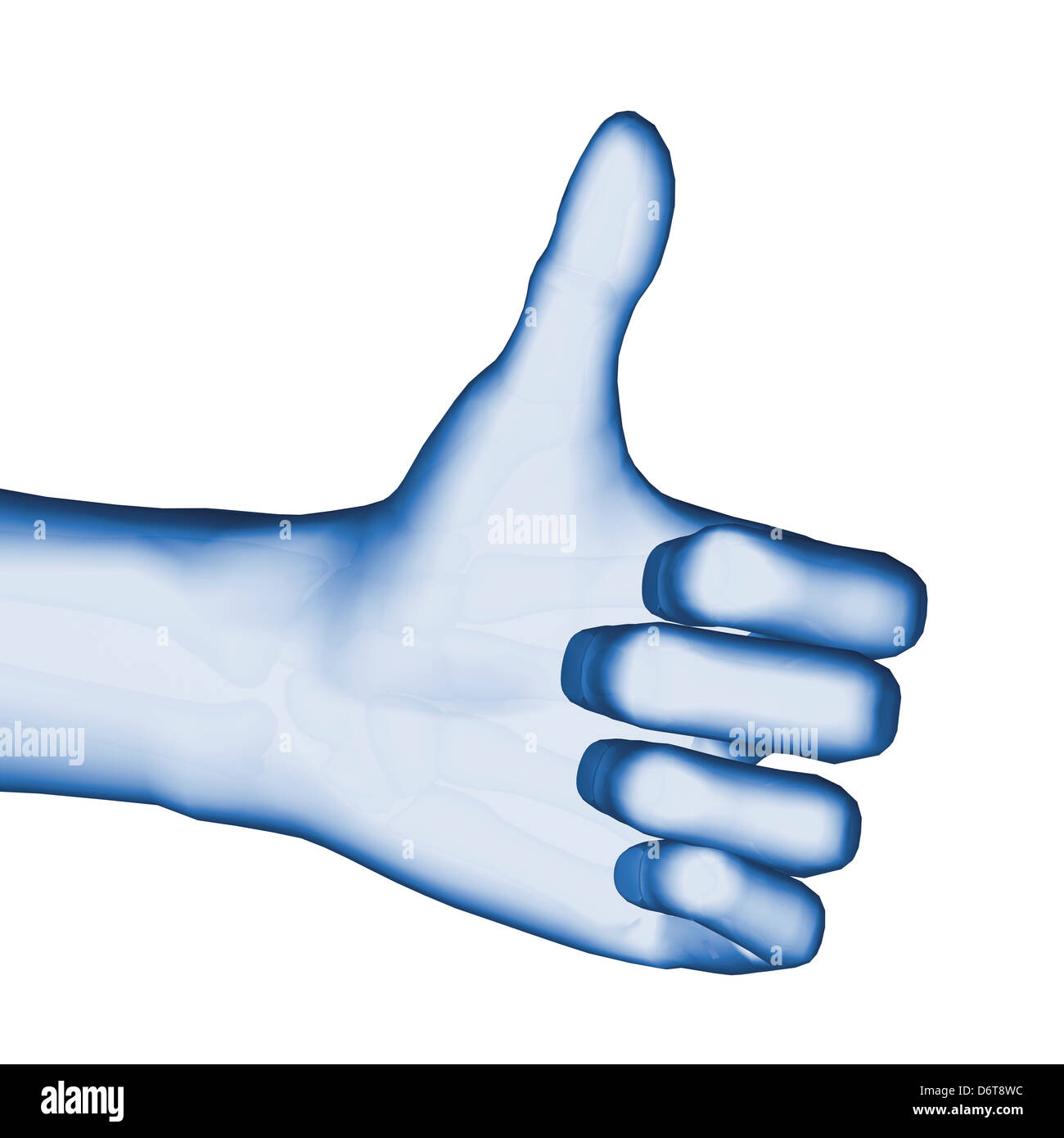 3D Computer Illustration of blue hand giving thumbs up sign - Stock Image