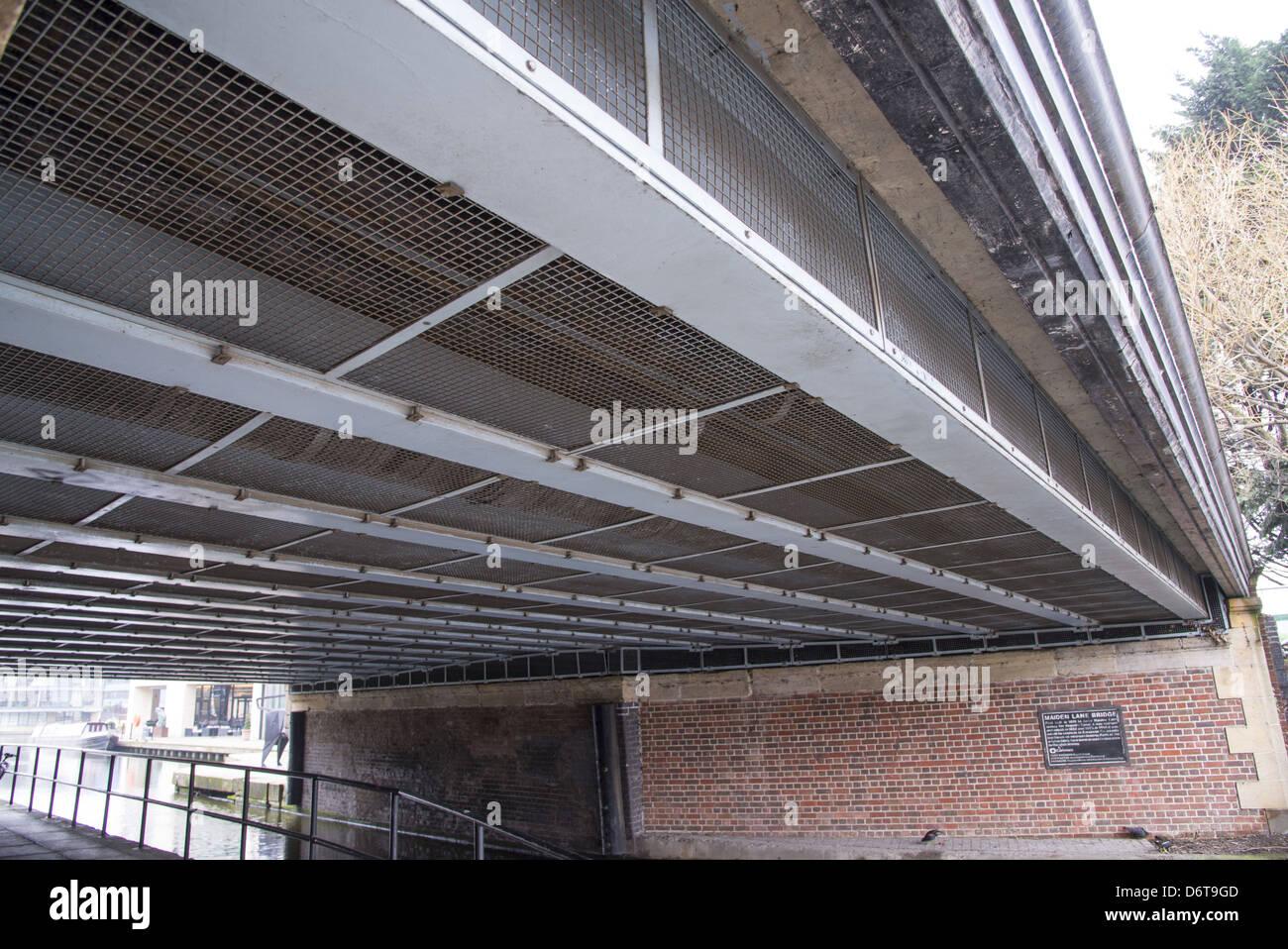 Feral Pigeon Columba livia pigeon-proof metal mesh protecting bridge Maiden Lane Bridge Regent's Canal Islington - Stock Image