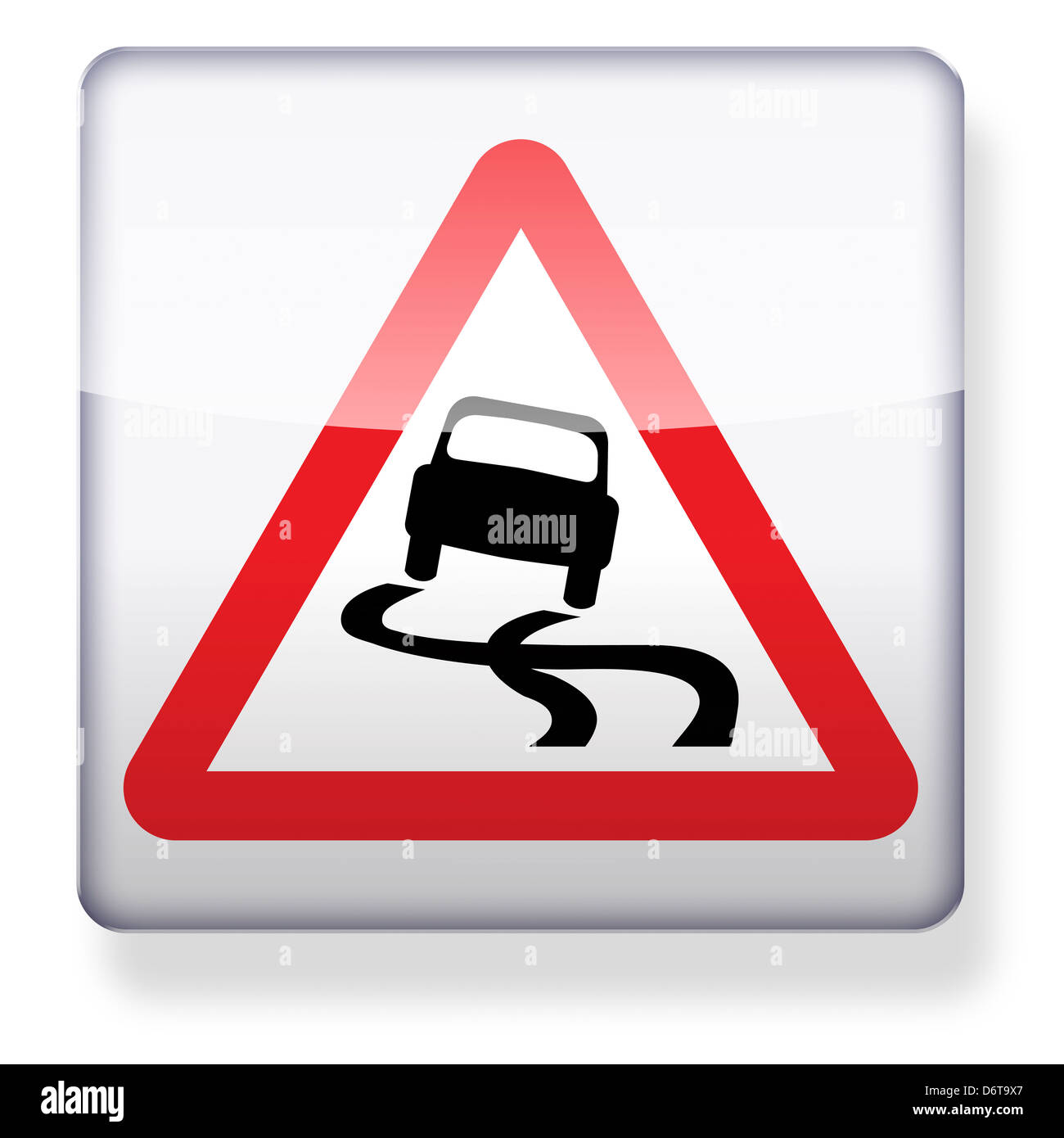 Slippery road sign as an app icon. Clipping path included. - Stock Image