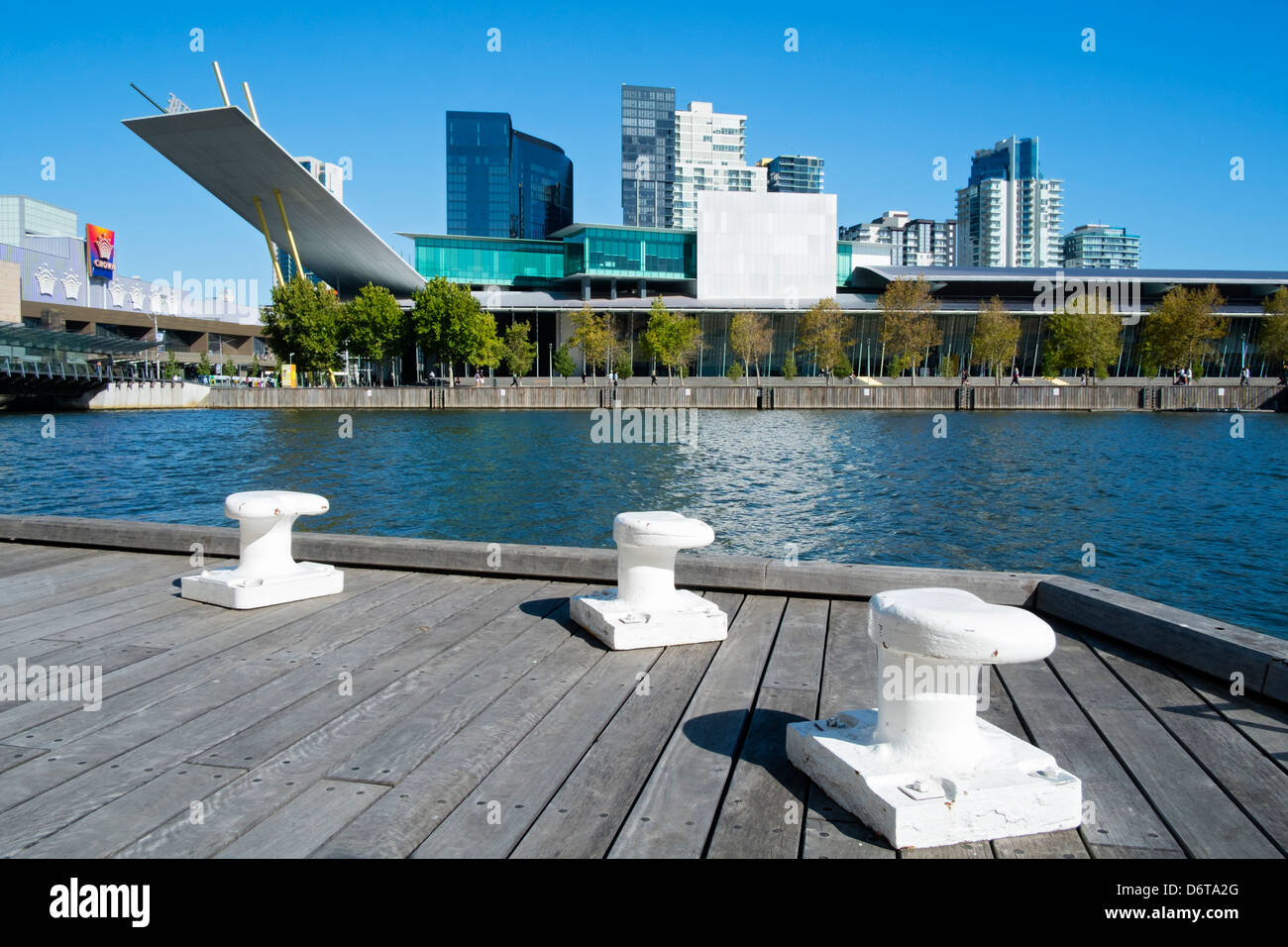 View across Yarra River to Melbourne Exhibition Centre in central Melbourne South Australia - Stock Image