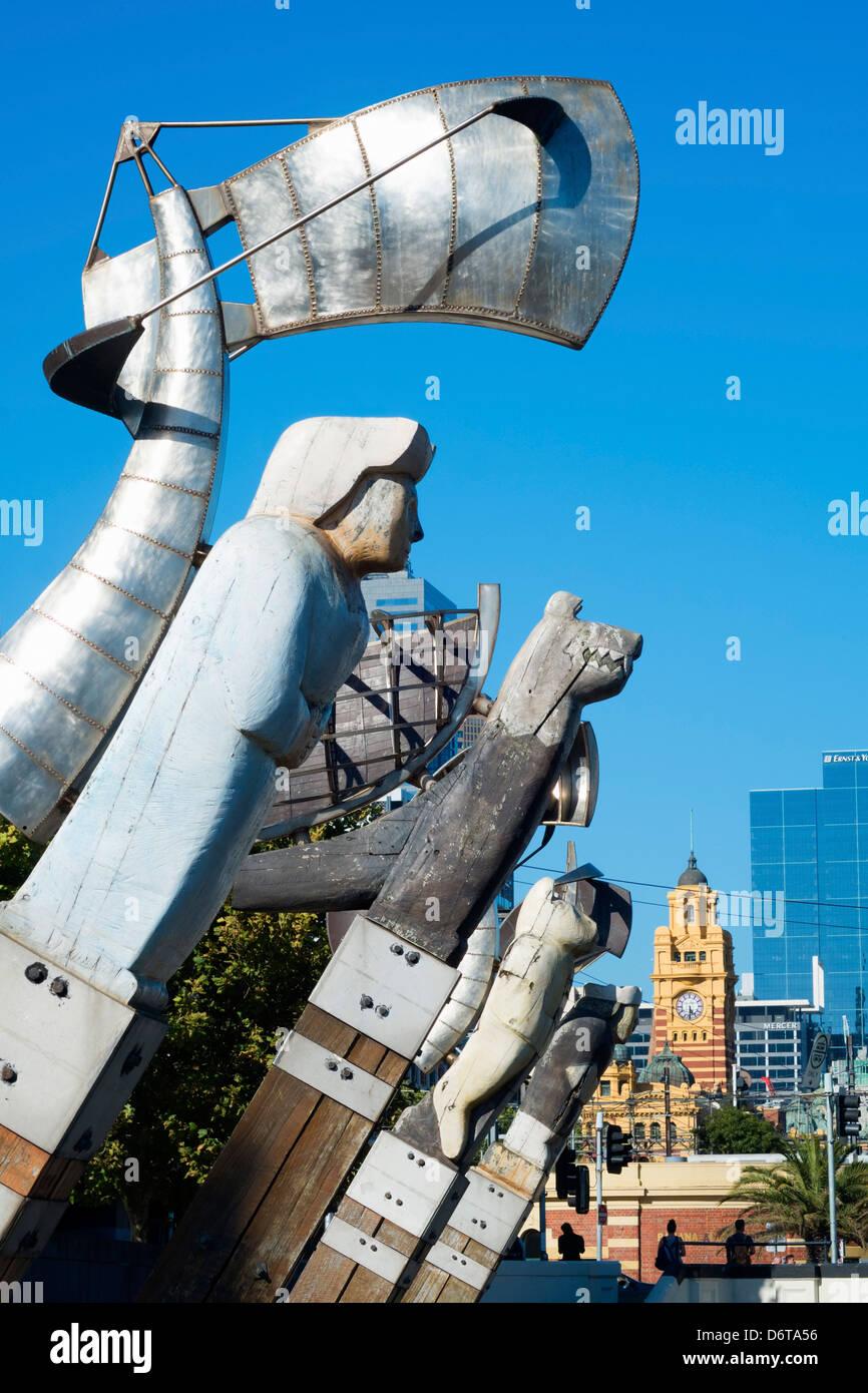 Enterprize Landing Memorial public art installation on Yarra River Melbourne Australia - Stock Image