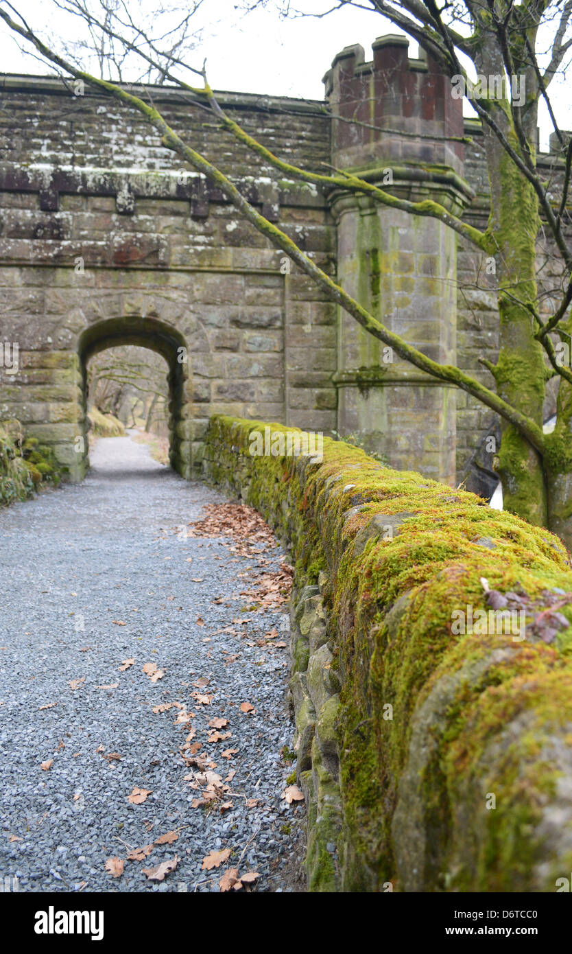 Ornate Aqueduct over the River Wharfe near Bolton Abbey on The Dales Way Long Distance Footpath in Wharfedale West Stock Photo