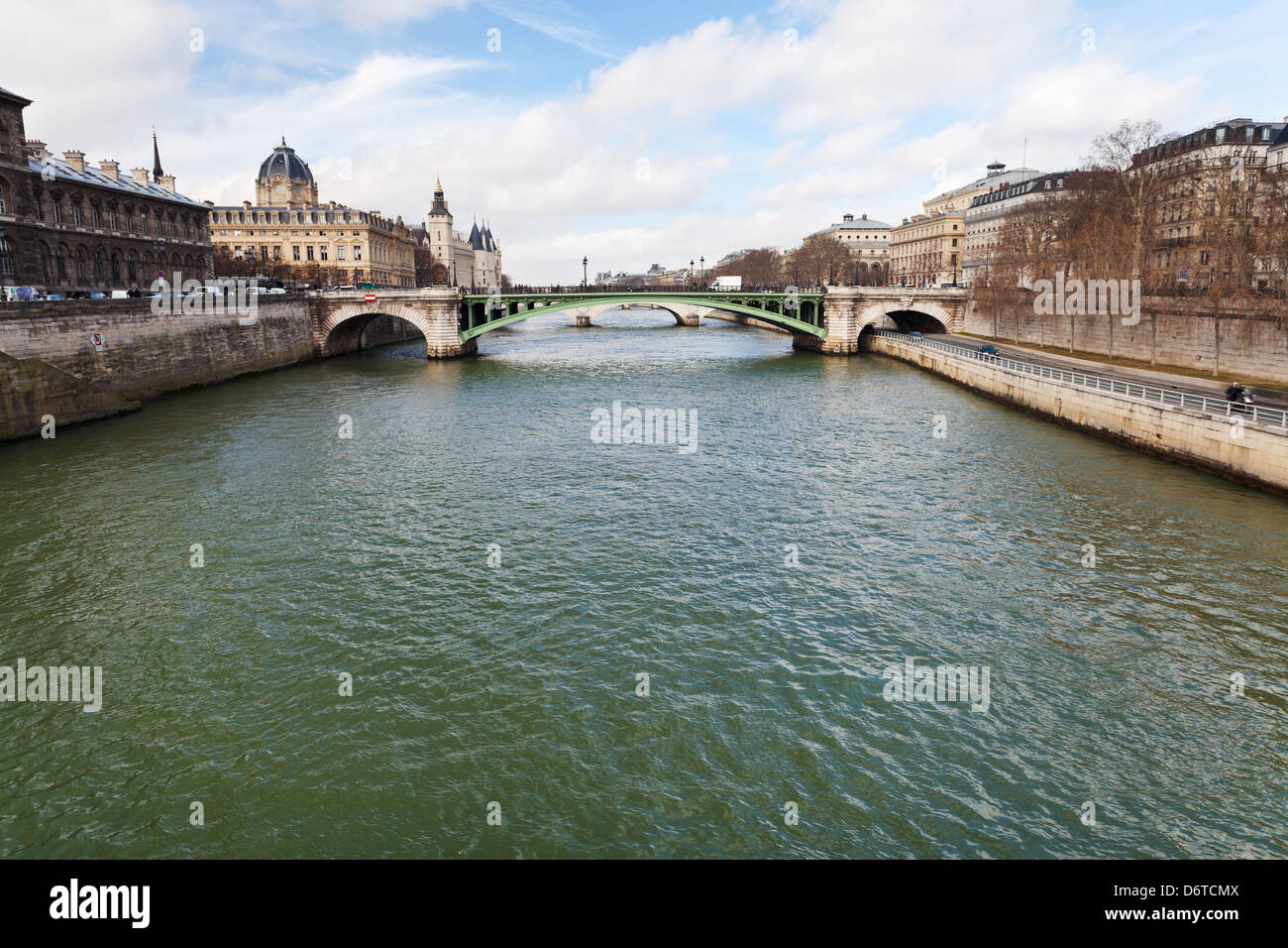 view of Seine river and pont Notre Dame in Paris - Stock Image