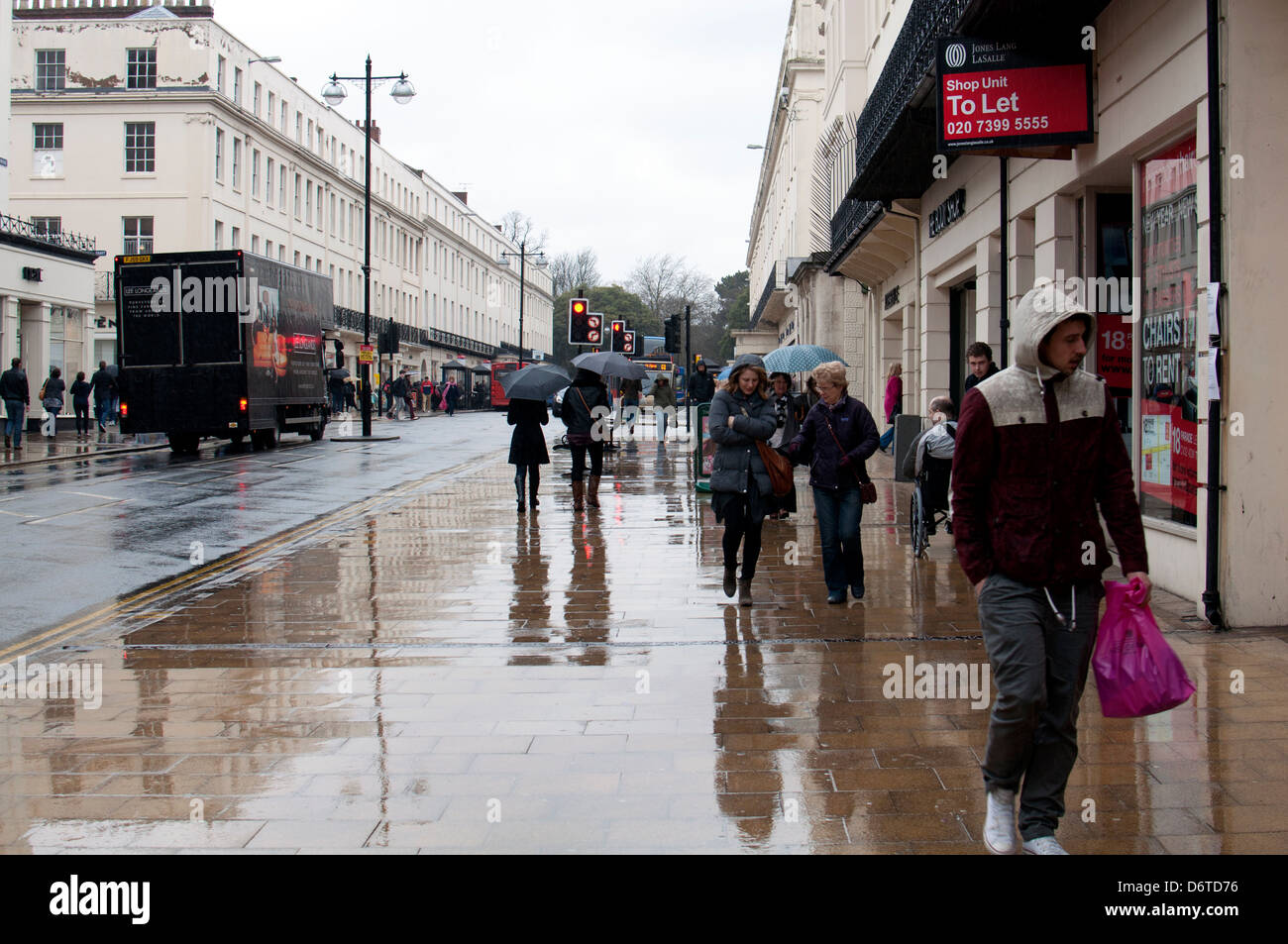 Dull wet weather, The Parade, Leamington Spa, UK - Stock Image