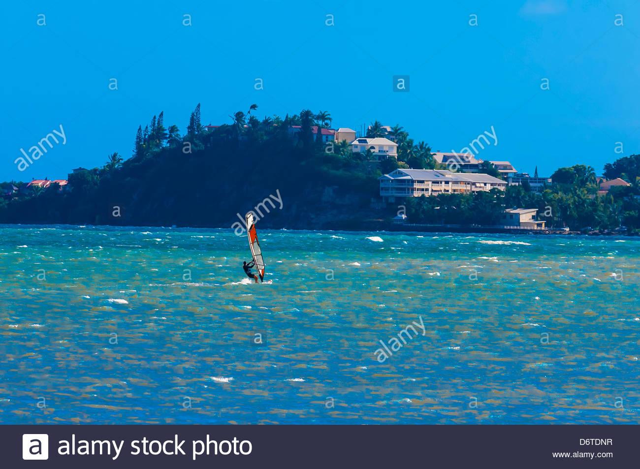 Windsurfing, Magenta Bay (Baie de Magenta), Noumea, New Caledonia - Stock Image