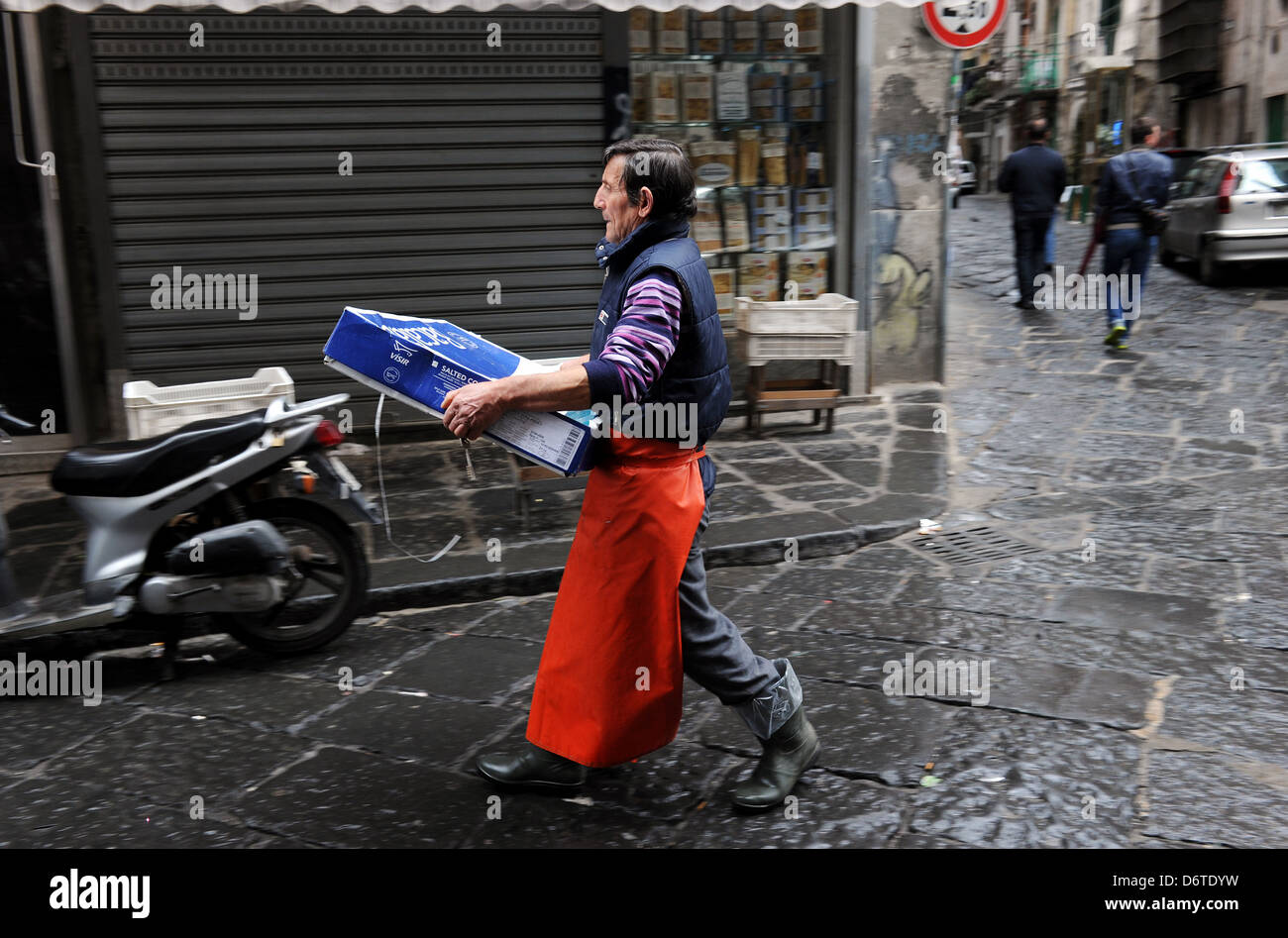 A fishmonger in Naples, Italy. Picture by Paul Heyes, Saturday March 30, 2013. - Stock Image