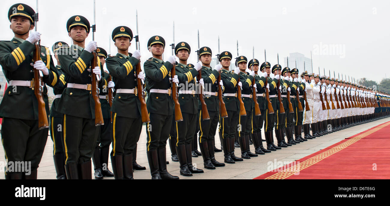 People's Liberation Army of China Honor Guard line up for the arrival ceremony of US General Martin Dempsey - Stock Image