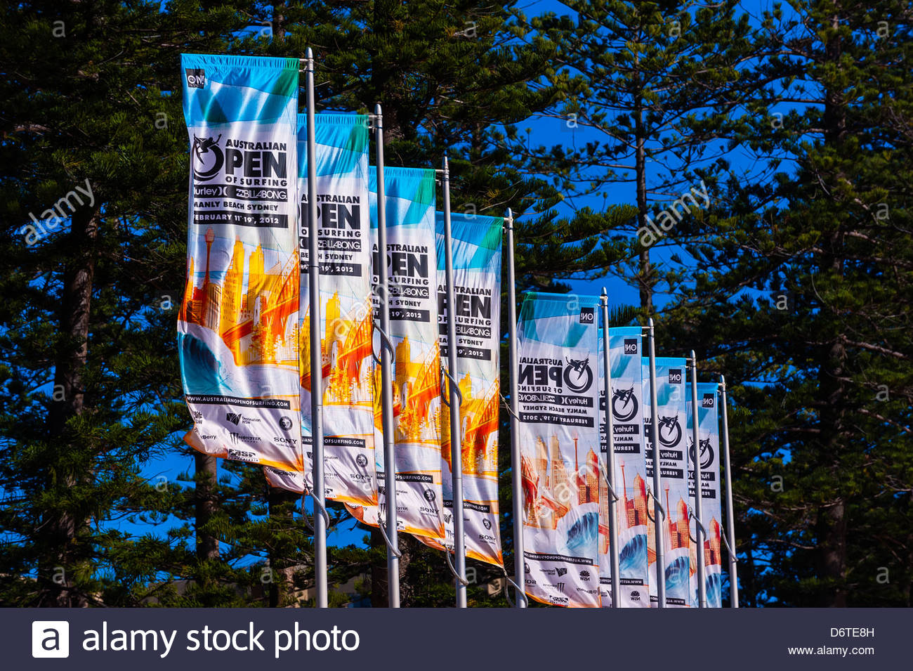 Australian Open of Surfing banners, Manly Beach, Sydney, New South Wales, Australia - Stock Image