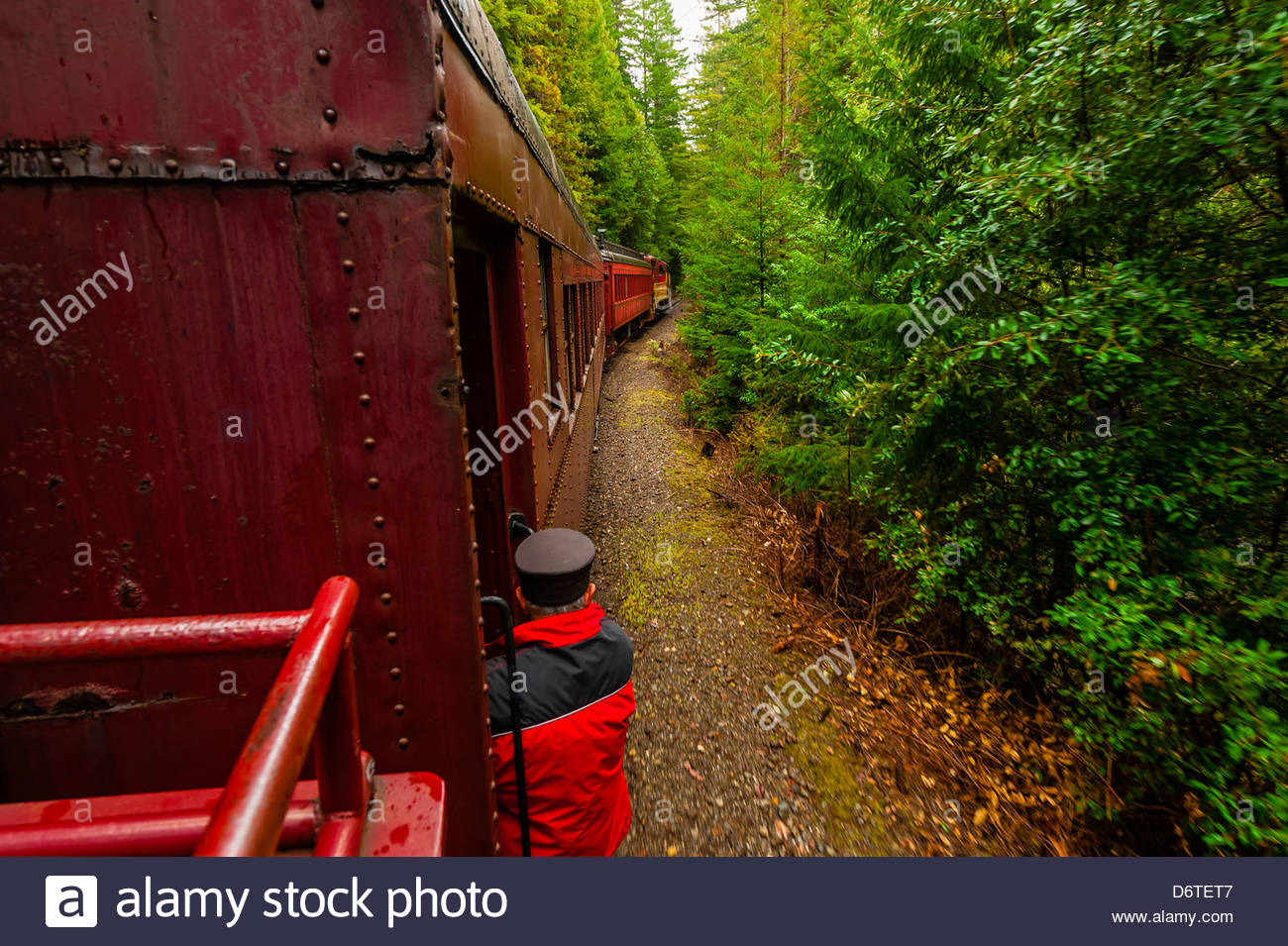 Skunk Train (tourist train) en route from Fort Bragg to Willits, Mendocino County, California USA - Stock Image