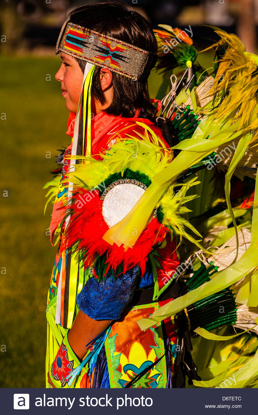 American Indians dancing at a pow wow at Frontier Homestead State Park Museum, Cedar City, Utah, USA. - Stock Image