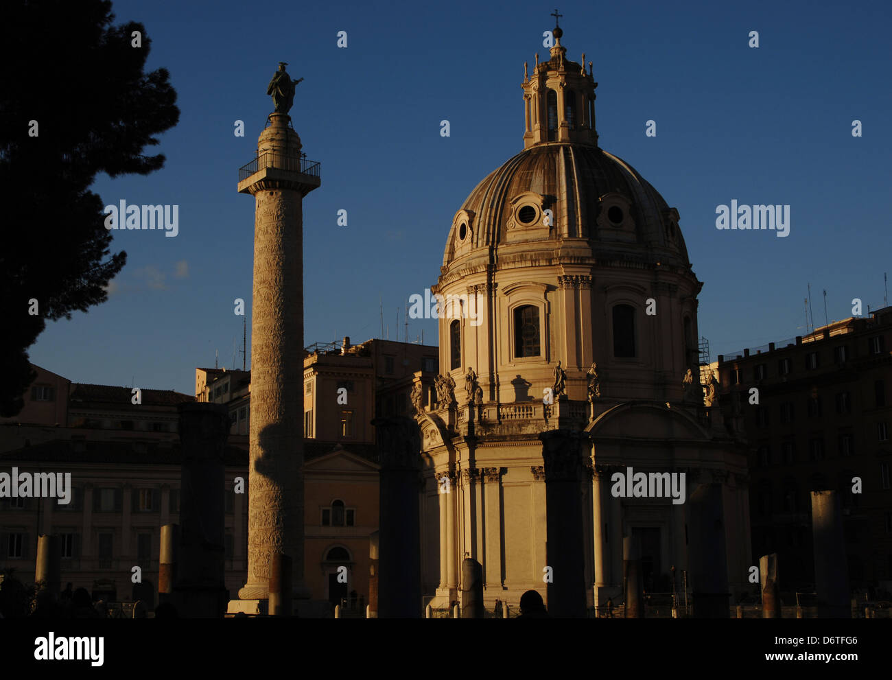Italy. Rome. Church of the Most Holy Name of Mary. 18th century. First, the Trajan Column, 2nd century AD. Trajan - Stock Image