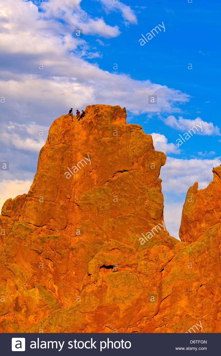 Usa colorado man rock climbing stock photos usa colorado - Garden of the gods rock climbing ...