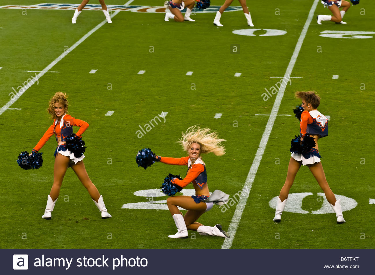 Denver Broncos Cheerleaders, Denver Broncos vs. Pittsburgh Steelers NFL football game, Sports Authority Field at - Stock Image