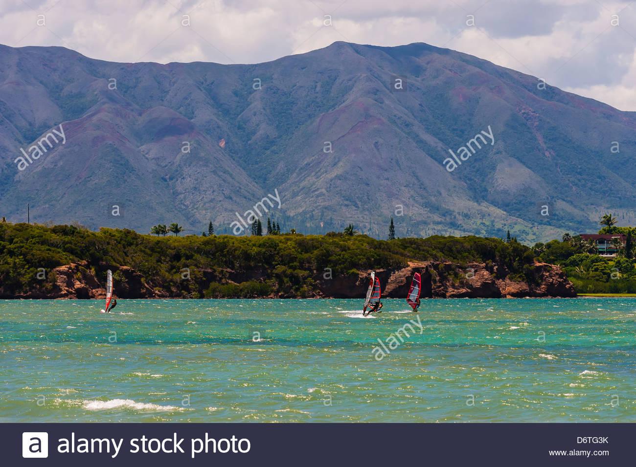 Windsurfing, Magenta Bay, Noumea, Grand Terre, New Caledonia - Stock Image