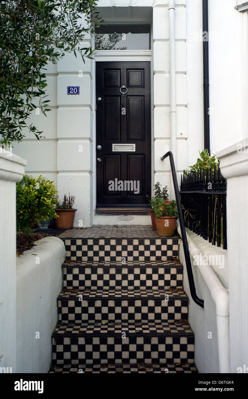 Superieur Chequered Tiles Steps To Front Door, Brighton, UK   Stock Image