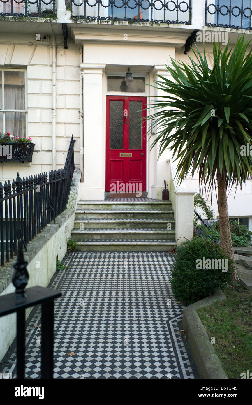 Chequered Tile Path And Steps, Front Door, Brighton, UK   Stock Image