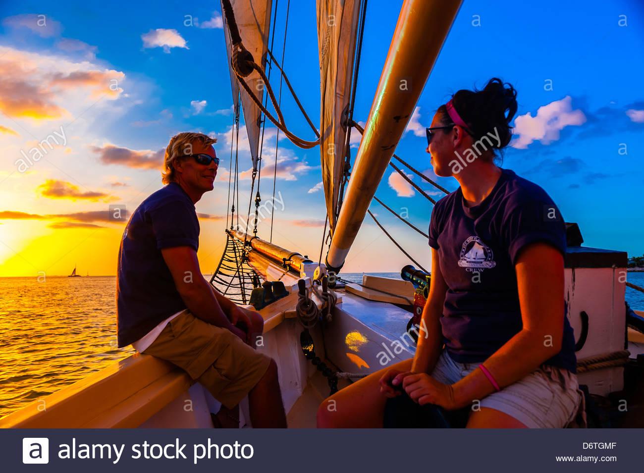 Aboard the Schooner Western Union for a sunset cruise off Key West, Florida Keys, Florida USA - Stock Image