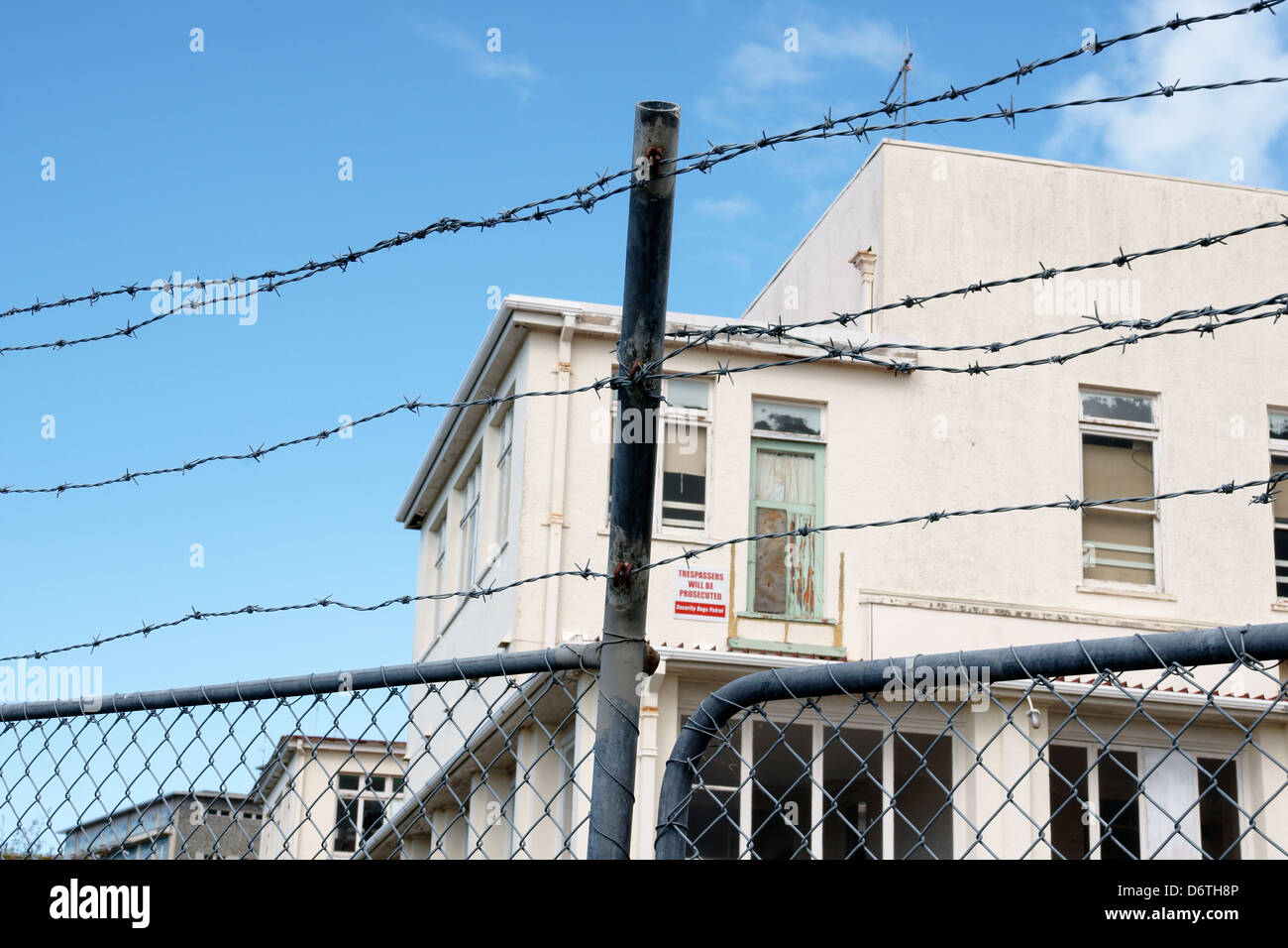 Building Security Wiring Just Another Diagram Blog Home Power Supply Barbed Wire Fence Around An Abandoned Stock Photo Rh Alamy Com