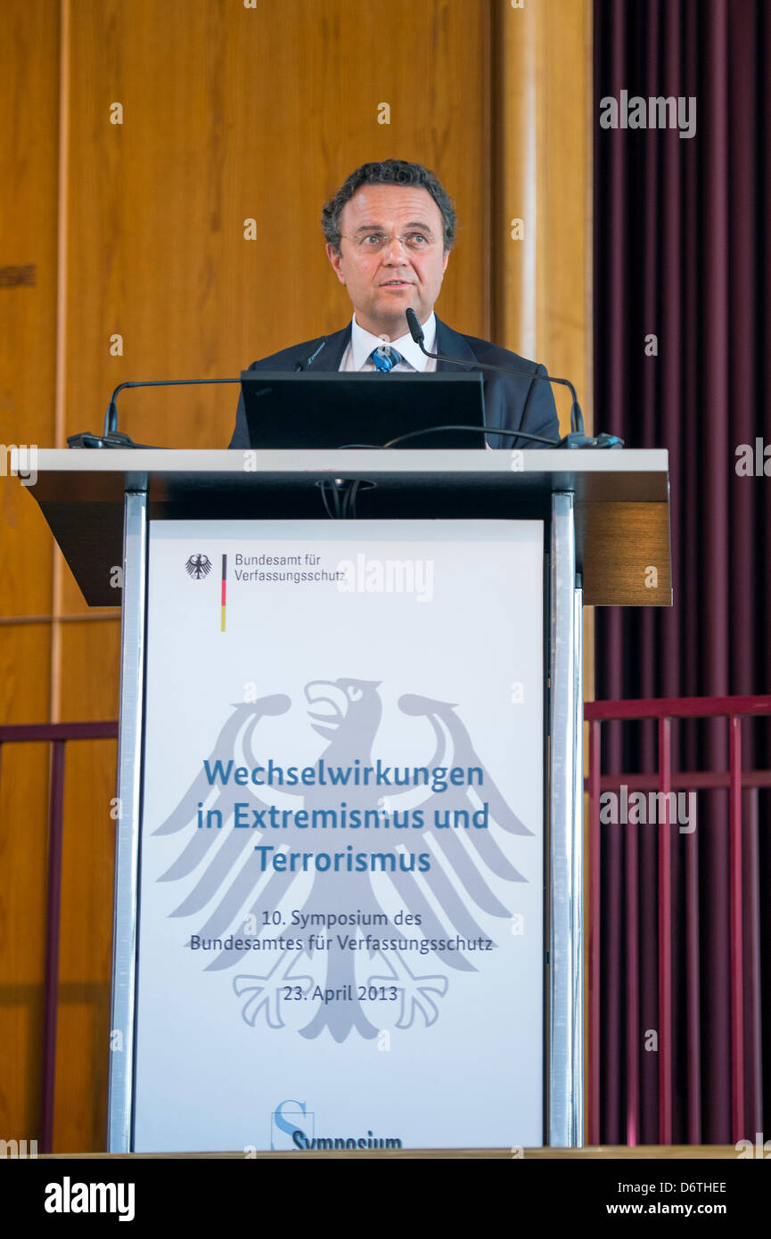 Berlin, Germany. April 23rd 2013. German Federal Interior Minister Hans-Peter Friedrich speech at the 10th Symposium - Stock Image