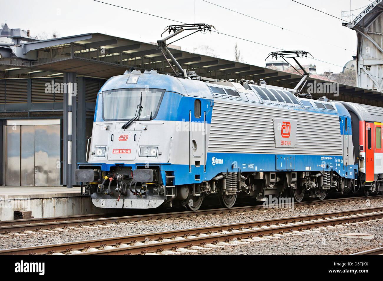 Skoda 109 E multi-system electric locomotive is seen in Prague Czech Republic on Thursday April 18 2013 Czech rolling - Stock Image