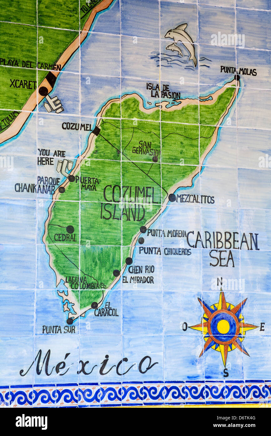 close up of a map in puerta maya cozumel quintana roo yucatan peninsula mexico