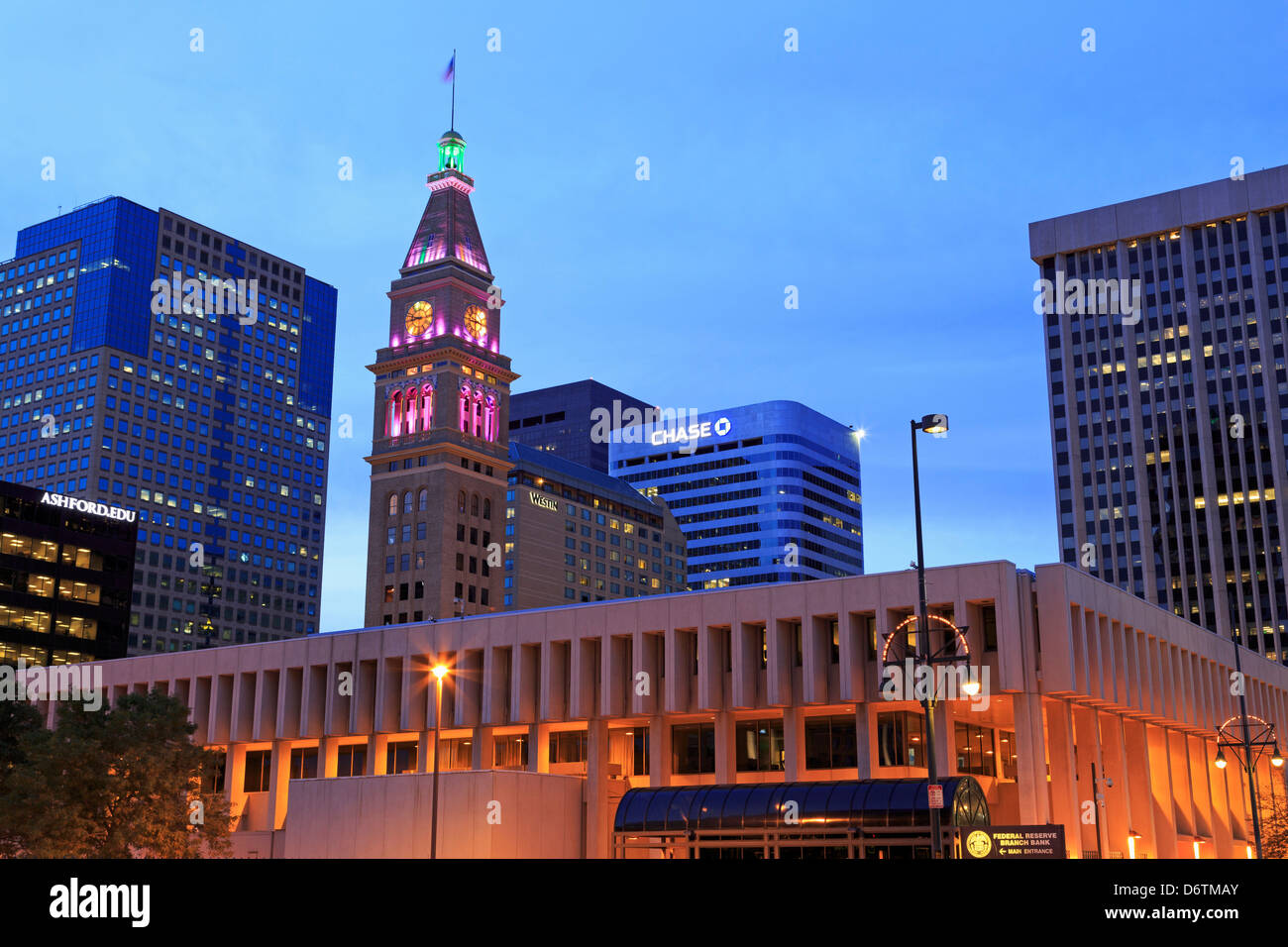 USA, Colorado, Denver, Daniel's and Fisher Tower, 16th Street Mall - Stock Image