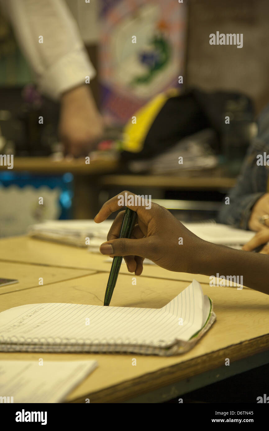 9th grade social studies teacher engages students with the Trojan War in a Greek history unit. Queens, NY - Stock Image
