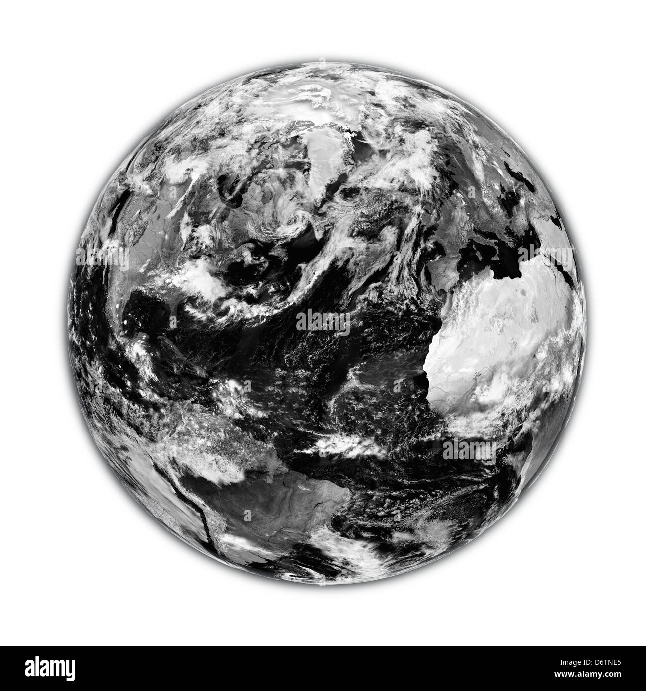 Black planet Earth with clouds isolated on white background. Elements of this image furnished by NASA. - Stock Image