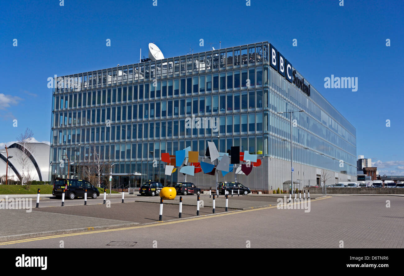 The BBC Scotland headquarters building at Pacific Quay on the River Clyde in Govan Glasgow Scotland Stock Photo