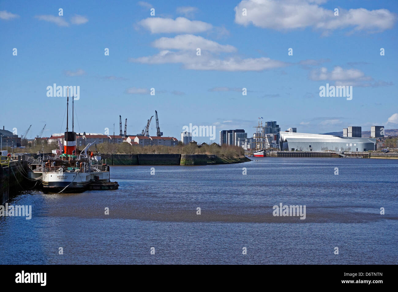 Paddle steamer Waverley moored at Glasgow Science Centre in the River Clyde with Riverside Museum and Tall Ship Stock Photo