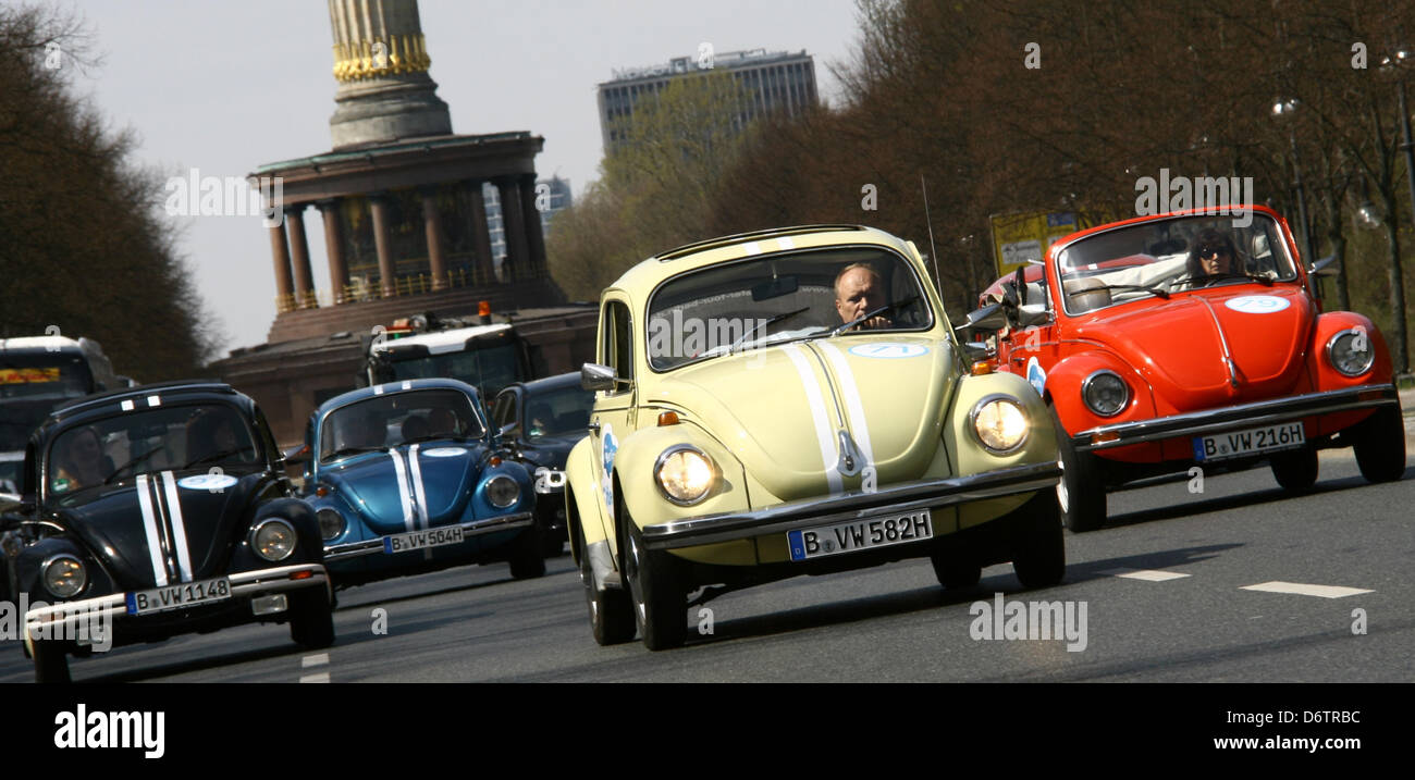 VWBugs from sightseeing company 'OldieKaefer Tour' drive past the Siegessaeule in Berlin,Germany, 23 April 2013. Stock Photo