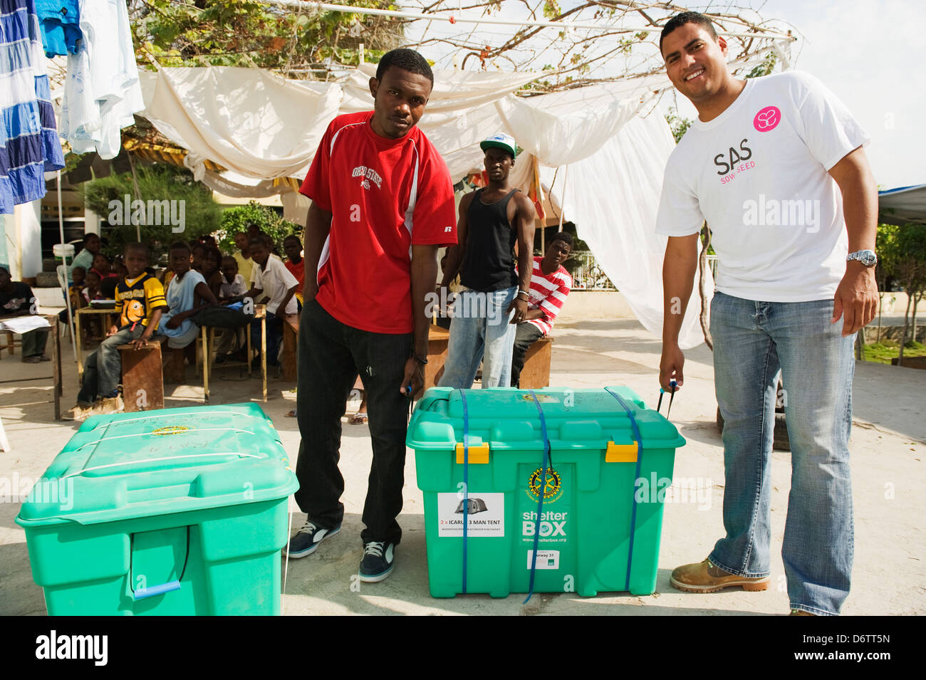 donated ShelterBox tents at an orphange after the January 2010 earthquake, Port au Prince, Haiti, Caribbean - Stock Image