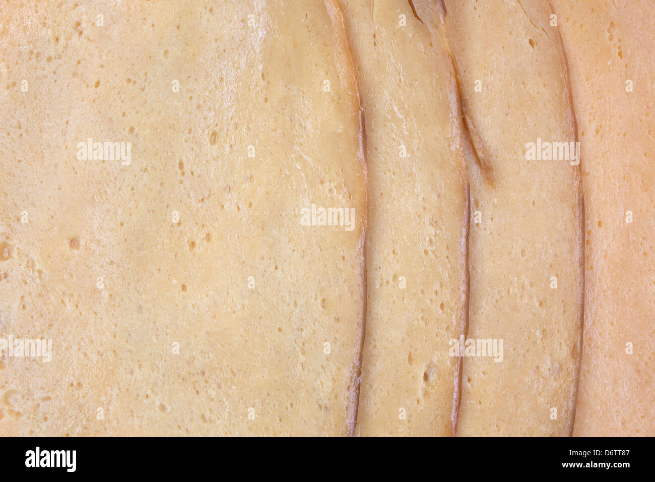 A very close view of sliced tofu meatless turkey. - Stock Image