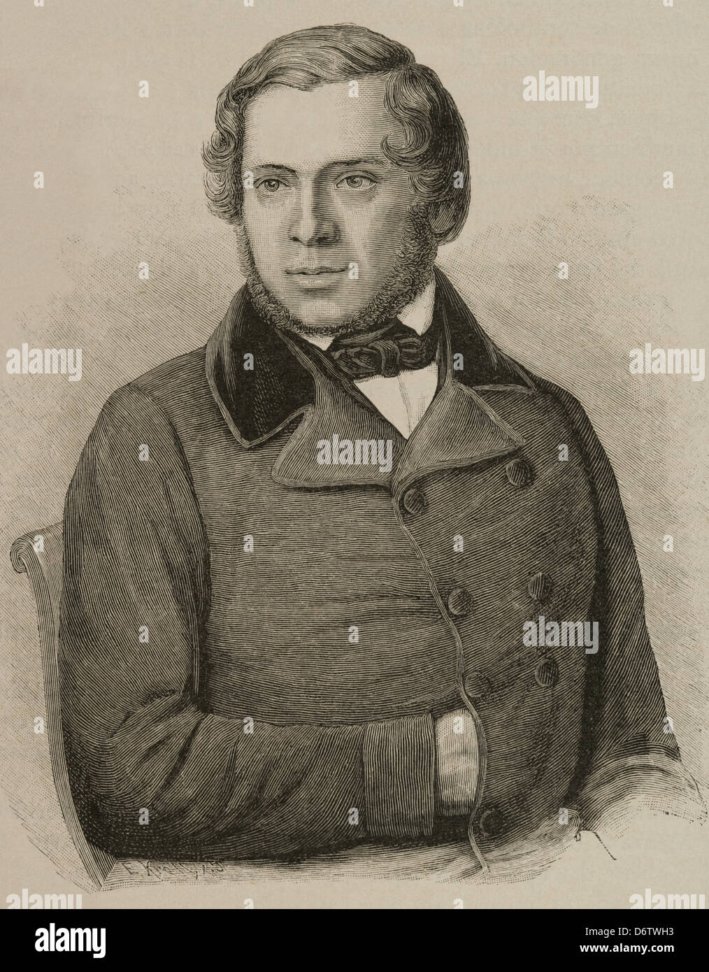 Ludwig Häusser (1818–1867). Was a German historian. Engraving. 'Universal History', 1885. - Stock Image