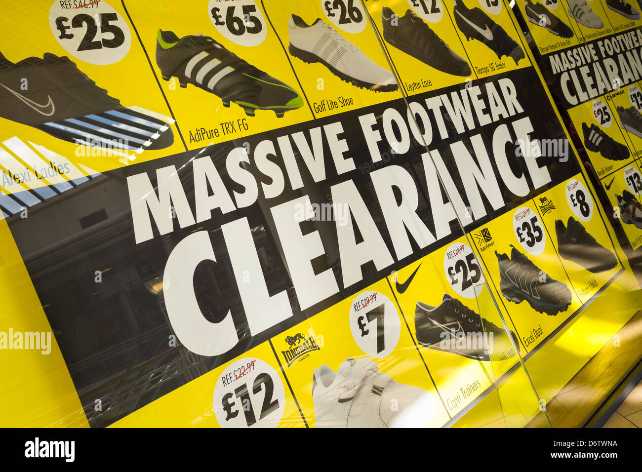 Massive footwear clearance sale. - Stock Image