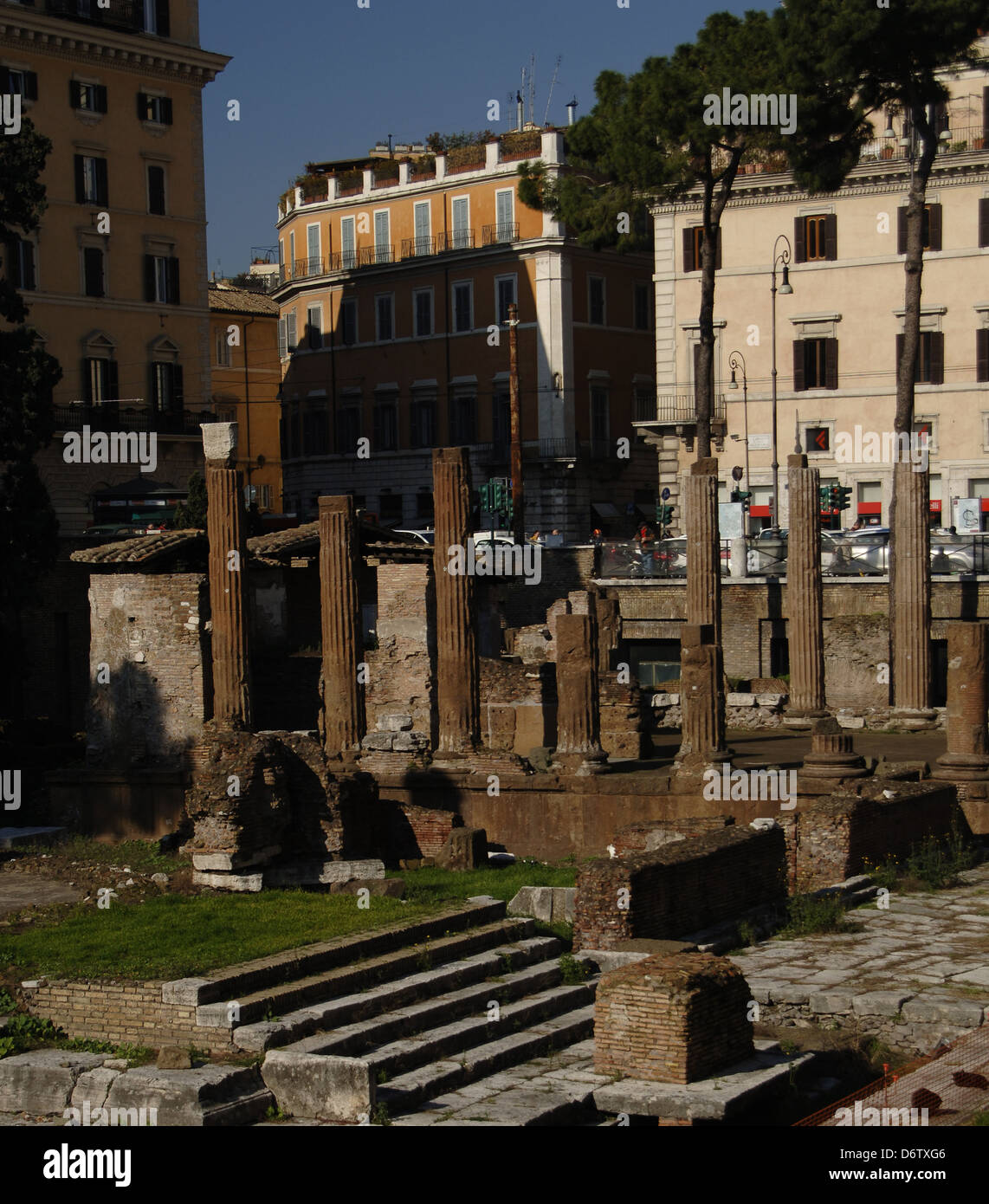 Italy. Rome. Sacred area of Largo di Torre Argentina. Temple A devoted to Jutuna. First, the Temple B. - Stock Image